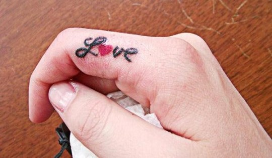 love finger tattoos