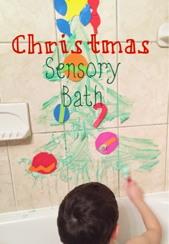 Shaving cream, food coloring and foam sheets make for a fun and exciting sensory bath, sure to keep the kids busy on a cold, wintery day indoors!
