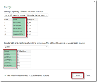 select matching columns