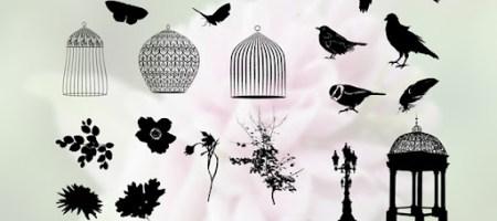 [Shapes整理]花草、鳥、籠、蝶自訂形狀集