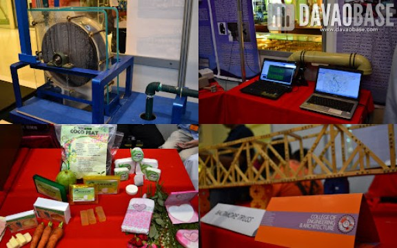 Student projects on display during the AdDU-CEA Technical Exhibit at Abreeza Mall