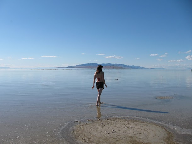 Renee Walking Out into Great Salt Lake.JPG