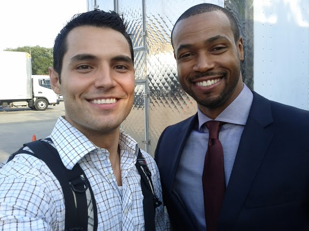 Samy Osman and Isaiah Mustafa on set of Nikita