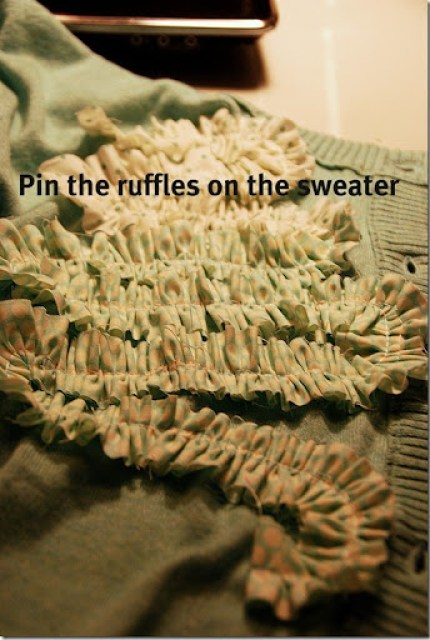 green sweater pin the ruffles