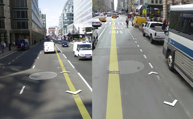 Vergleich: Street View vorher (links), Street View nachher (rechts)