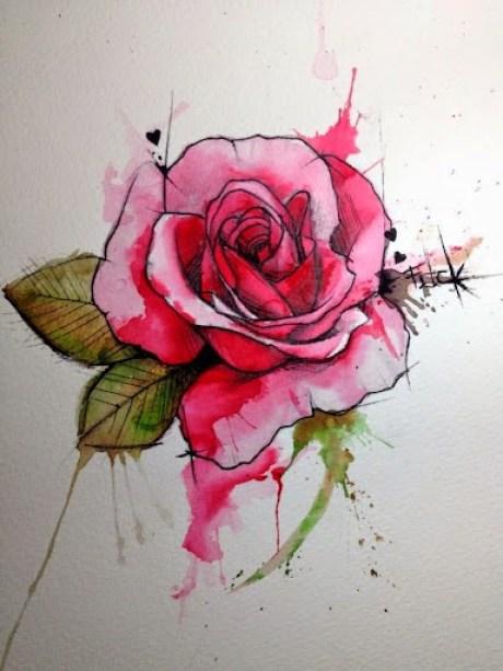 watercolor rose tattoos