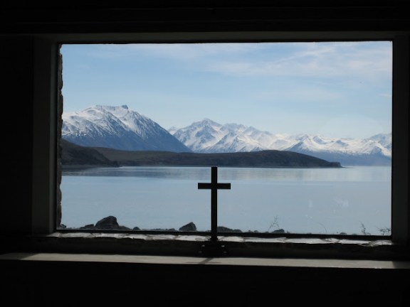 View from the Church of the Good Shepherd, Lake Tekapo, in the winter