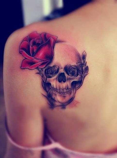 sugar skull rose tattoos