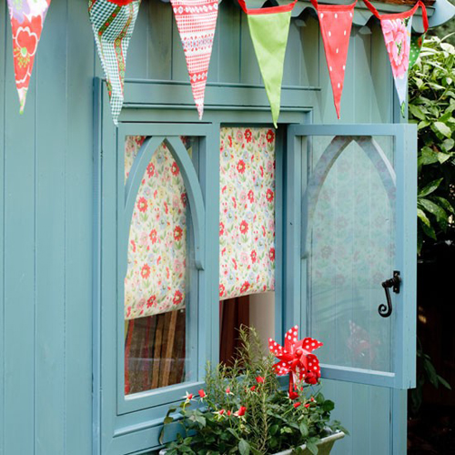 Garden shed with cath kidston blind