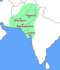 Extent of the Indus Valley Civilization imposed over modern borders