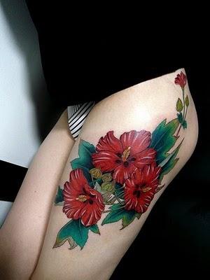 flower tattoos on leg