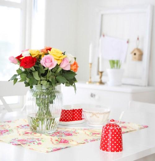 Flower arrangement and Greengate tea towel