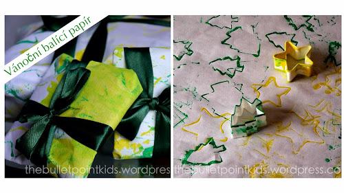 Vánoční balící papír vyroben dětma