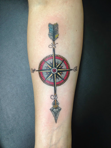 Arrow tattoos with compass