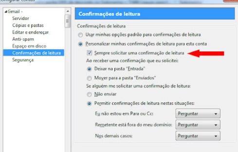 Confirmação Leitura de Email Gmail, Yahoo, Hotmail com Thunderbird