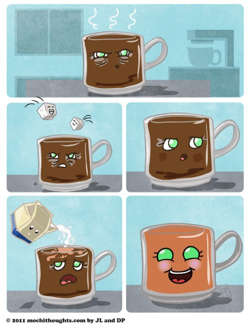 Cute Food Comic, Coffee changes that frown upside down