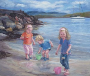 'Cousins at Keils' Oil 26 x 22in