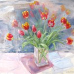'Tulips on a Silver Ground' Oil 24 x 21in  £950