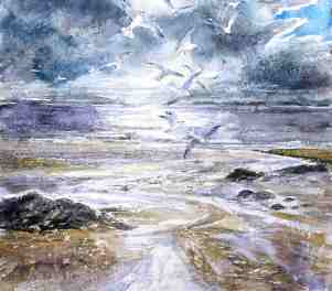 T35 Gulls in Winter 14x12in