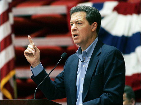 Republican presidential hopeful Sen. Sam Brownback, R-Kan., speaks during a Republican candidates' forum Saturday, Sept. 29, 2007, at Casper College in Casper, Wyo. (AP Photo/Casper Star-Tribune, Dan Cepeda)