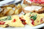 sun dried tomato, feta, spinach omelet