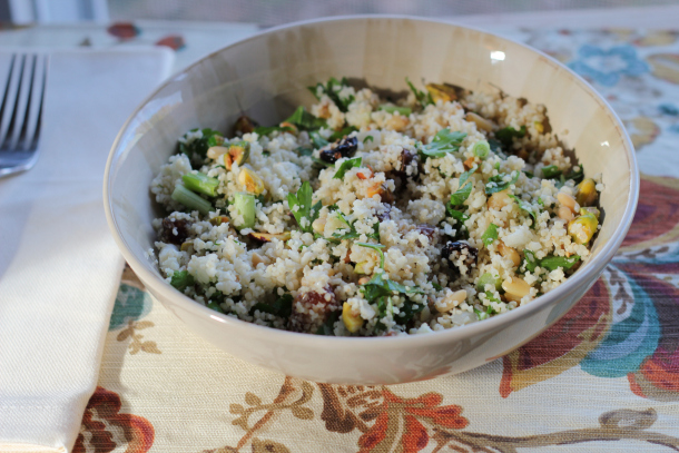 Cauliflower Couscous with Dates, Pistachios, Pine Nuts, and Parsley