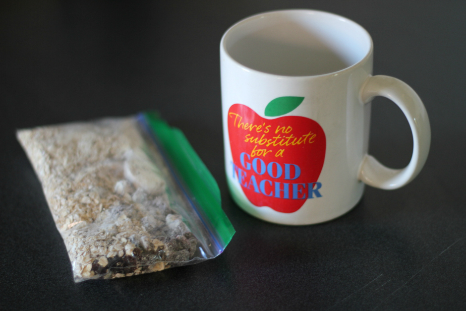 homemade oatmeal in a coffee mug