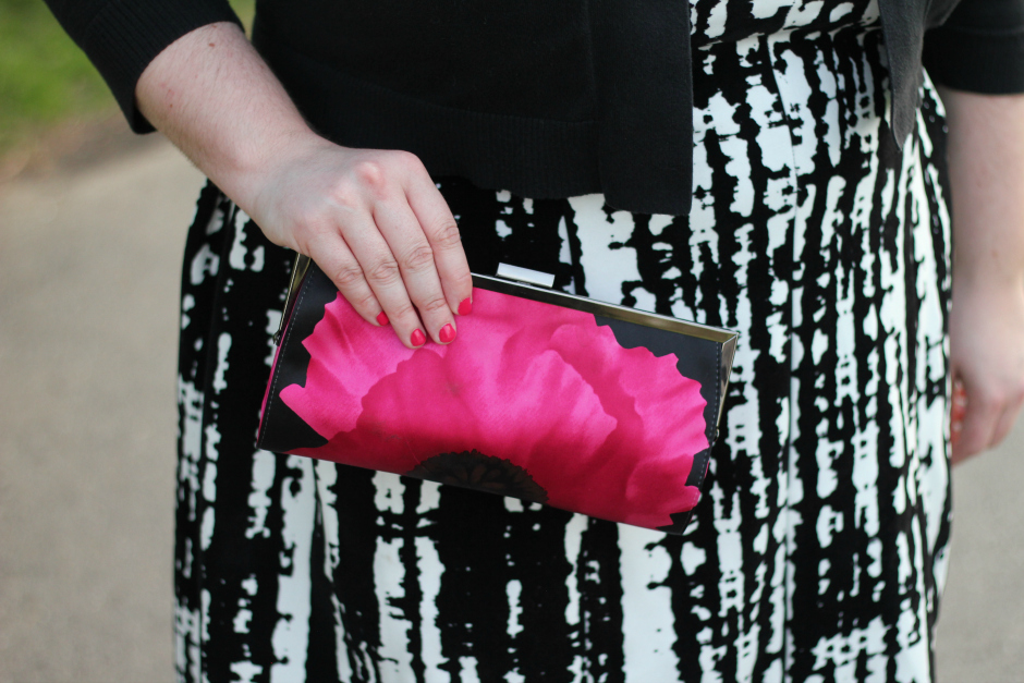 hot pink poppy clutch