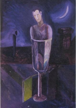 Révész László László: Hold 1987, 100 x 70, olaj vászon