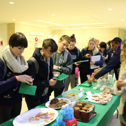 students in line for cookies
