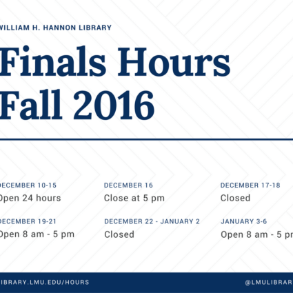 hours for fall 2016 finals