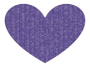 heart with binary text