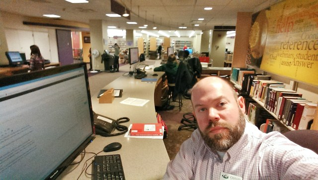Selfie at my big 'ole desk