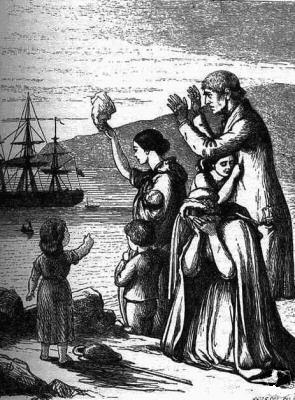 Emigrantes, abandonan Irlanda,  Henry Dole 1868.