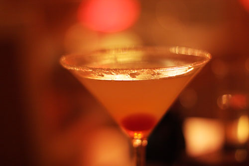 Tokyo Glow: Belvedere Cytrus, lemon juice, sugar, and mandarin liqueur, served up with a sugared rim
