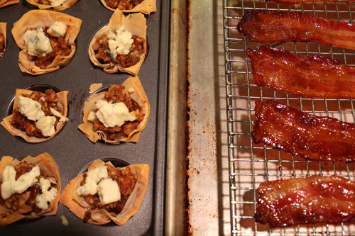 Crispy Nutty Date Cups meet Candied Bacon