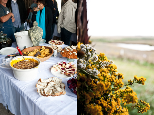 Farm to table dinner (left); Prairie wildflowers (right)