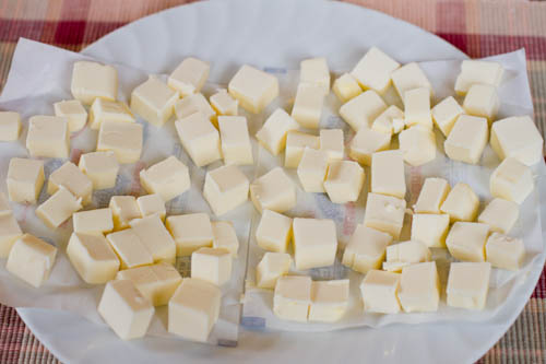 Two sticks of butter cubed and frozen