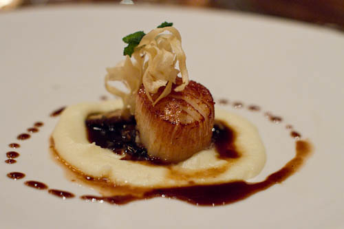 Pan Seared Day Boat Scallop in Foie Sauce