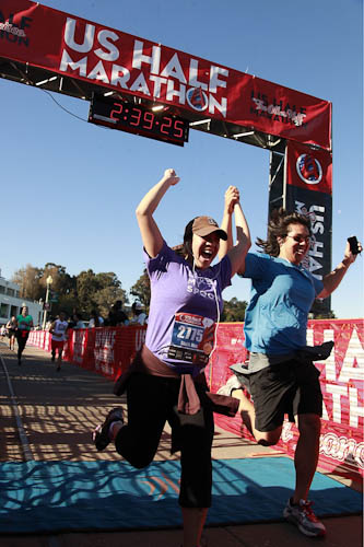 Steph and Hua Half Marathon Finish