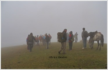 Kashmir Great Lakes Harmukh Walking in Mist