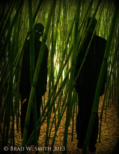 two silhouettes in bamboo