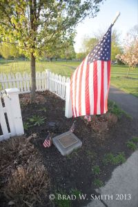 A small private cemetery with American flag, tree, fence