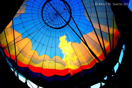 inside of inflated hot air balloon