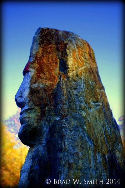 large upright rock appears to be the profile of a man