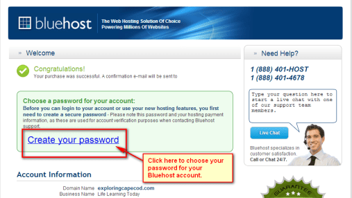 Create Bluehost Password