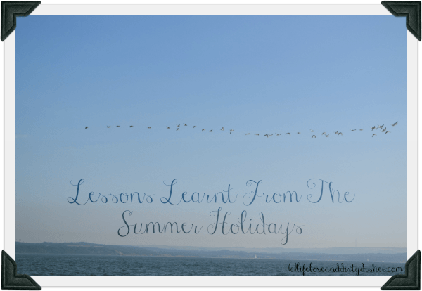 Image of a Beach sunset, birds flying with the text lessons learnt from the summer holidays