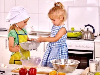 children making breakfast at home kitchen