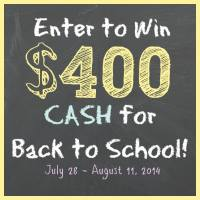 $400 Cash Giveaway for Back to School!