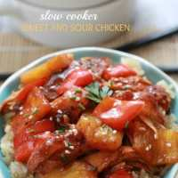 Slow Cooker Sweet and Sour Chicken with Pineapples and Bell Peppers